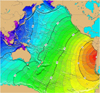 Tsunami travel time map for a hypothetical earthquake off the coast of central Chile