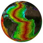age grid globe of Atlantic created by NGDC with satellite land overlay