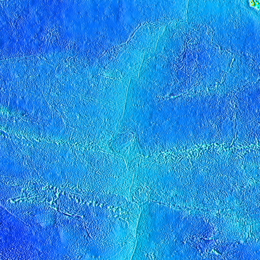 color shaded relief image, 45 degree square area of latitude/longitude centered on 0 North 135 West
