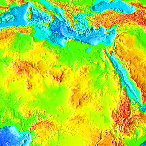 color shaded relief image, 45 degree square area of latitude/longitude centered on 45 North 0 East