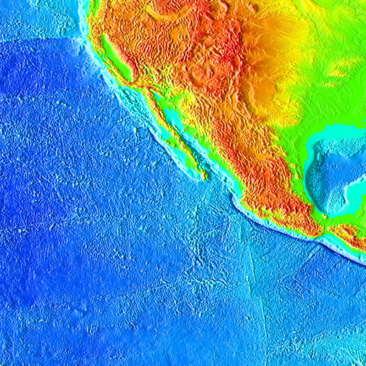 color shaded relief image, 45 degree square area of latitude/longitude centered on 45 North 135 West