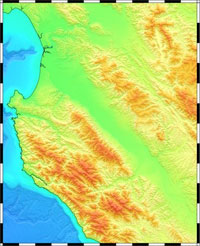 NCEI Coastal Relief Model, Vol 6 1 deg square offshore CA