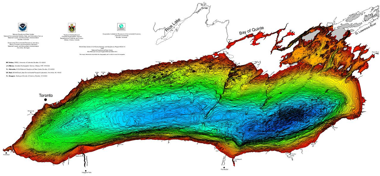 View large jpg image of the bathymetry of lake ontario