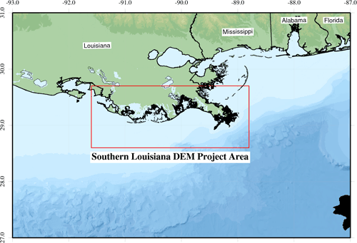 Southern Louisiana DEM Project Area