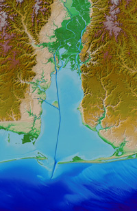 Coastal Relief Model detail of Mobile Bay, Alabama